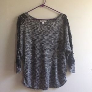 Dress Barn Black & White Sweater With Laced Detail